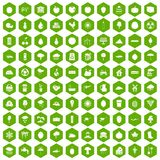100 fruit icons hexagon green. 100 fruit icons set in green hexagon isolated vector illustration Royalty Free Stock Photography