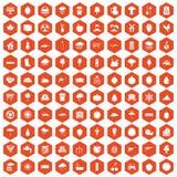 100 fruit icons hexagon orange. 100 fruit icons set in orange hexagon isolated vector illustration Stock Photo