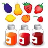 Fruit icons and jam jars Royalty Free Stock Image