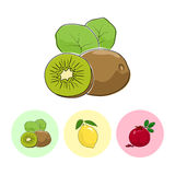 Fruit Icons, Kiwifruit, Lemon , Pomegranate. Fruit  Kiwifruit  on White Background , Set of Three Round Colorful Icons Kiwifruit, Lemon and Pomegranate , Vector Royalty Free Stock Images