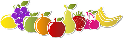 Fruit icons labels Stock Image