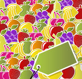 Fruit icons labels. Background of fruit icons labels Stock Photo