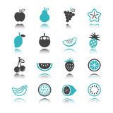 Fruit icons with reflection Stock Photography