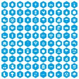 100 fruit icons set blue. 100 fruit icons set in blue hexagon isolated vector illustration Stock Photography