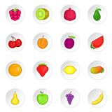 Fruit icons set. Cartoon illustration of 16 fruit travel vector icons for web Stock Photography