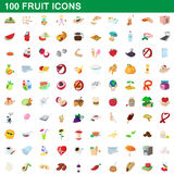 100 fruit icons set, cartoon style Stock Photography