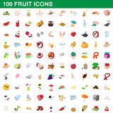 100 fruit icons set, cartoon style. 100 fruit icons set in cartoon style for any design illustration vector illustration
