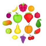 Fruit icons set, cartoon style. Fruit icons set. Cartoon illustration of 16 fruit travel vector icons for web stock illustration