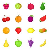 Fruit icons set, cartoon style Royalty Free Stock Photography
