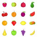 Fruit icons set, cartoon style. Fruit icons set. Cartoon illustration of 16 fruit travel vector icons for web royalty free illustration