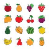Fruit icons. Set of colorful fruit icons stock illustration