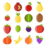Fruit icons set flat design line art  vector illustration Royalty Free Stock Photo