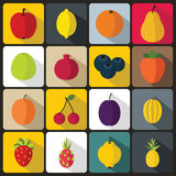 Fruit icons set. In flat style for any design Royalty Free Stock Images