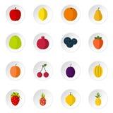Fruit icons set, flat style Stock Images