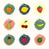 Fruit icons Stock Photos