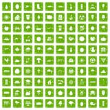 100 fruit icons set grunge green. 100 fruit icons set in grunge style green color isolated on white background vector illustration Royalty Free Stock Images