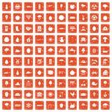 100 fruit icons set grunge orange. 100 fruit icons set in grunge style orange color isolated on white background vector illustration royalty free illustration