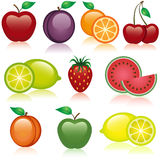Fruit Icons. A set of healthy fruit icons Royalty Free Stock Photos