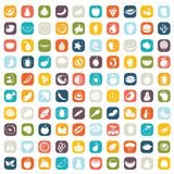 Fruit icons. Set of 100 fruit icons, , illustration buttons Royalty Free Stock Photography