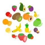 Fruit icons set, isometric 3d style vector illustration