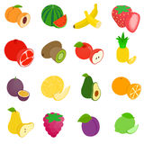 Fruit icons set, isometric 3d style Stock Photos