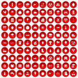 100 fruit icons set red Stock Photos
