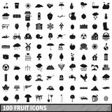 100 fruit icons set, simple style Royalty Free Stock Image