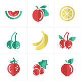 Fruit Icons Set Stock Photo