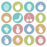 Fruit icons set Stock Photography