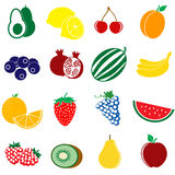 Fruit icons set Royalty Free Stock Photos