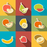 Fruit Icons Sticker Set Stock Images