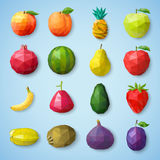Fruit icons. Vector illustration. Fruit polygonal  icons. Vector illustration Royalty Free Stock Image