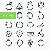 Fruit Icons. Vector illustration. Set Of Outline Stroke Fruit icons: pineapple, apple, watermelon, strawberry, blackberry royalty free illustration
