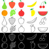 Fruit icons Stock Photos