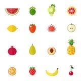 Fruit icons vector set. Modern flat design. Royalty Free Stock Photos