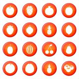 Fruit icons vector set Royalty Free Stock Image