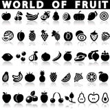 Fruit icons. On a white background with a shadow Stock Image