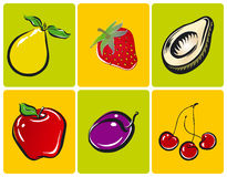 Fruit illustrations. A colorful set of fruit illustrations Stock Photography