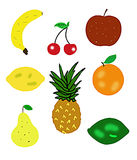 Fruit illustrations isolated on white Stock Images