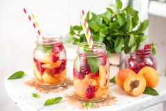 Fruit Infused Detox Water with apricots raspberries and mint. Cold Fruit Infused Detox Water with apricots raspberries and mint Stock Photos