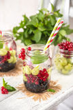 Fruit Infused Detox Water with black currants, red currants, gooseberries and mint. Cold Fruit Infused Detox Water with black currants, red currants Royalty Free Stock Images