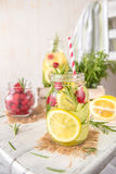 Fruit Infused Detox Water with lemon, cucumber, raspberry and rosemary. Cold Fruit Infused Detox Water with lemon, cucumber, raspberry and rosemary royalty free stock photos