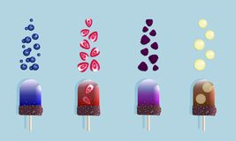 Fruit ice cream and berries royalty free illustration