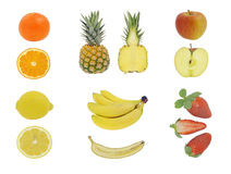 Fruit isolated on white stock photos