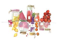 Fruit jam. Bright illustration of some kinds of jam. Watercolors Royalty Free Stock Photos