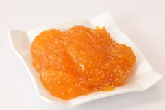 Fruit jam. Homemade natural fruit jam on white plate Royalty Free Stock Images