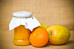 Fruit jam jar Stock Photos