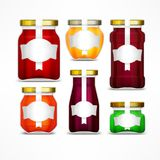 Fruit jam jars with figured label. Natural marmalade and honey preserve on white. Vector illustration Royalty Free Stock Image