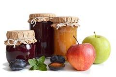 Fruit jam jars Stock Photography