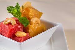 Fruit jam with peanut. Fruit puree. Fruit dessert. Berries jar j stock photo